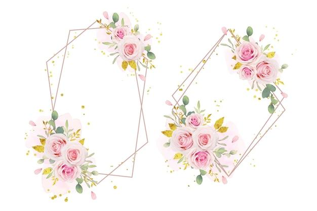 水彩ピンクのバラと金の飾りと美しい花の花輪