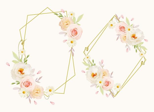 水彩ピンクのバラと白い牡丹と美しい花の花輪