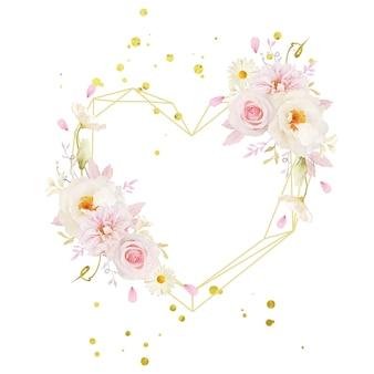 水彩ピンクのバラダリアと白い牡丹と美しい花の花輪