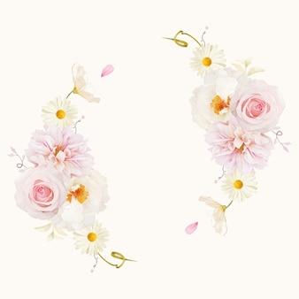 Красивый цветочный венок с акварельными розовыми розами георгинами и белым пионом