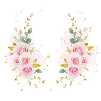 Beautiful floral wreath with watercolor pink roses and gold ornament