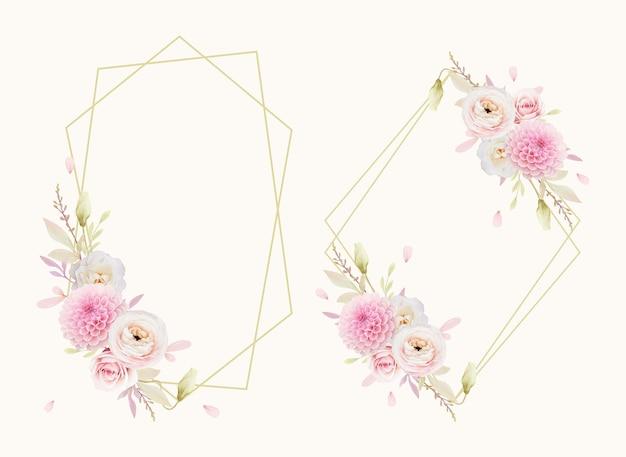 水彩ピンクのバララナンキュラスとダリアと美しい花の花輪