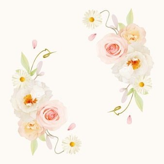 Beautiful floral wreath with watercolor pink roses and white peony