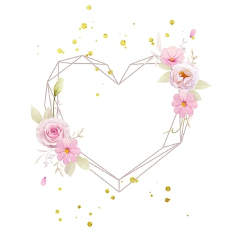 水彩ピンクのバラと美しい花の花輪