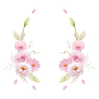 수채화 핑크 장미와 아름다운 꽃 화환