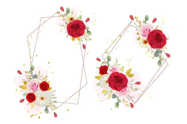수채화 핑크 흰색과 붉은 장미와 아름다운 꽃 화환