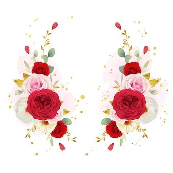 水彩ピンクの白と赤のバラと美しい花の花輪