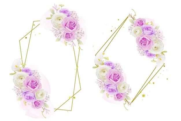 Bella ghirlanda floreale con giglio rosa viola acquerello e fiore di ranuncolo