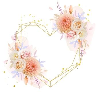 水彩のバラとダリアの花と美しい花の花輪