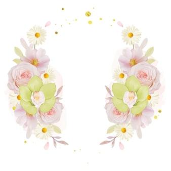 Красивый цветочный венок с акварельной розой и зеленой орхидеей
