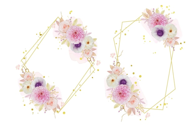 수채화 장미 달리아와 아네모네 꽃과 아름다운 꽃 화환