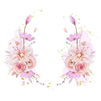 水彩のバラのダリアとラナンキュラスの花と美しい花の花輪