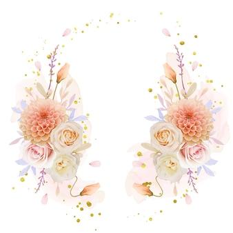 Bella ghirlanda floreale con fiori di rosa e dalia dell'acquerello