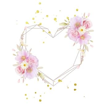 水彩のバラとアネモネの花と美しい花の花輪