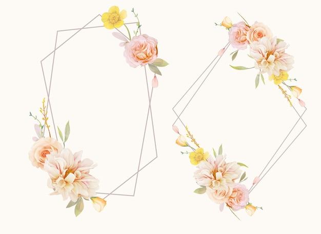 Красивый цветочный венок с акварельными розами и георгинами