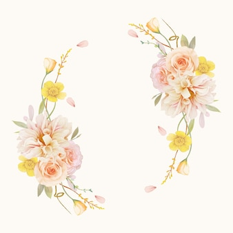 수채화 장미와 달리아와 아름다운 꽃 화환