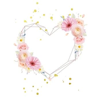 수채화 장미와 거베라와 아름다운 꽃 화환 무료 벡터