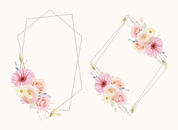 水彩のバラとガーベラの美しい花の花輪