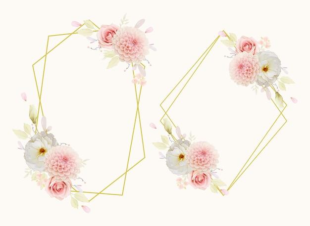 水彩のバラとピンクのダリアと美しい花の花輪