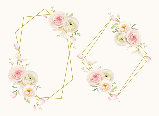 Красивый цветочный венок с акварельными розами и лютиками