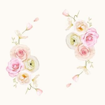 수채화 장미와 라 눈큘 러스와 아름다운 꽃 화환