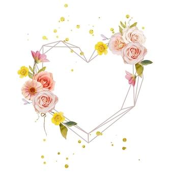 水彩のバラと百日草の美しい花の花輪