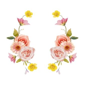 수채화 장미와 백일초와 아름다운 꽃 화환