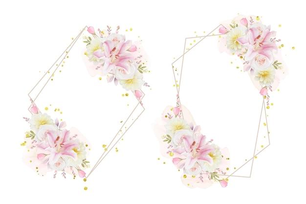 Красивый цветочный венок с акварельными розами, лилиями и георгинами