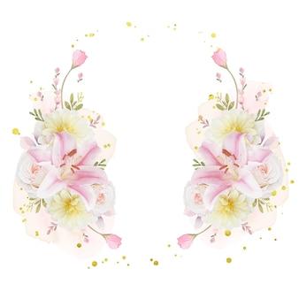 Bella ghirlanda floreale con giglio di rose dell'acquerello e fiore della dalia