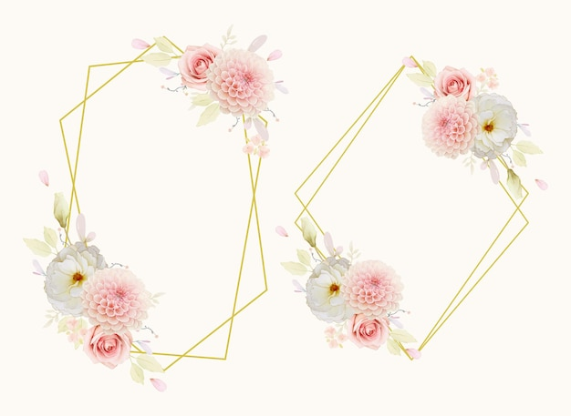 Bella ghirlanda floreale con rose dell'acquerello e dalia rosa