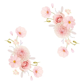 Beautiful floral wreath with watercolor roses and pink dahlia