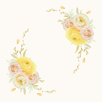 水彩のバララナンキュラスとアネモネの花と美しい花の花輪