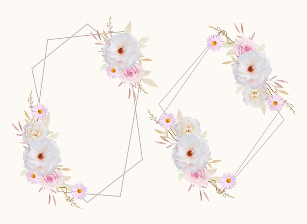 수채화 장미와 아름다운 꽃 화환