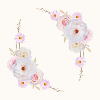 水彩のバラと美しい花の花輪
