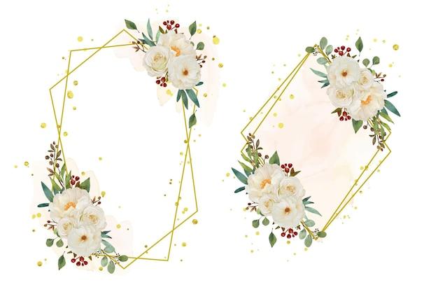 水彩の白いバラと牡丹の花と美しい花の花輪