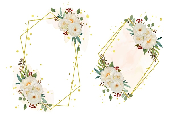 Beautiful floral wreath with watercolor white rose and peony flower