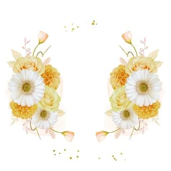 水彩の黄色いバラと白いガーベラの花と美しい花の花輪