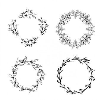 Beautiful floral wreaths collection vector