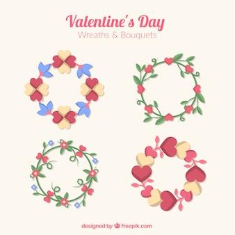 발렌타인 데이 대 한 마음으로 아름 다운 꽃 화 환