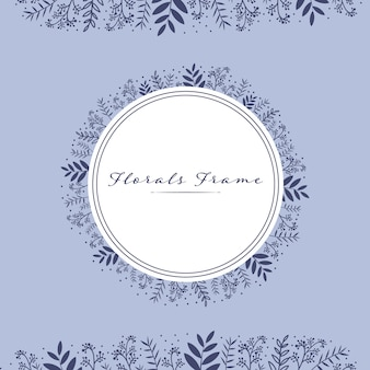 Beautiful florals leaves circle frame banner card template