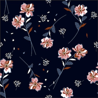 Beautiful florals and unique meadow flowers blowing in the wind seamless pattern