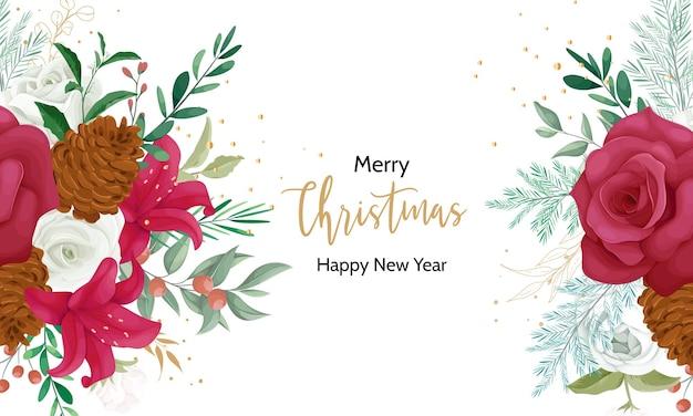 美しい花と金箔のクリスマスカードのデザイン