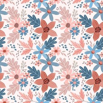 美しい花と葉のデザインのシームレスなパターン。