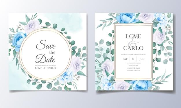 美しい花と葉の結婚式の招待カードテンプレート