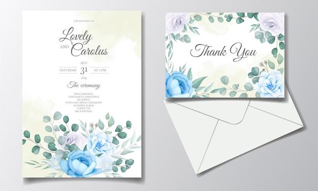 Шаблон свадебного приглашения с красивыми цветами и листьями