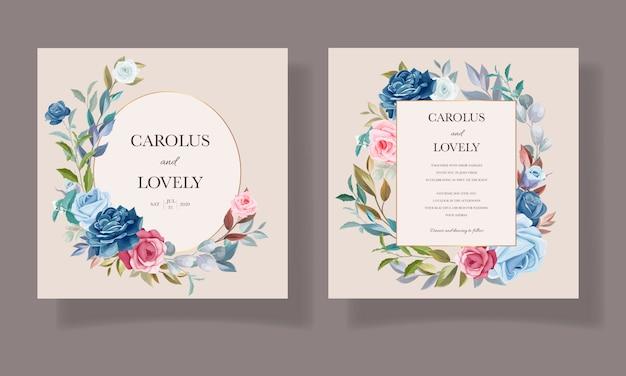 Красивый цветок и листья набор пригласительных билетов