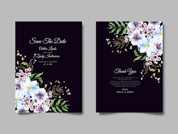 美しい花と葉の水彩結婚式の招待状のテンプレート