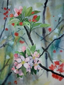 Beautiful flower background watercolor painting