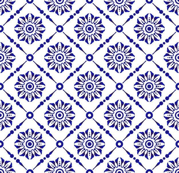 Beautiful flower blue and white pattern