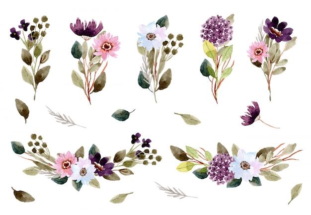 Красивый букет цветов композиция акварель коллекция